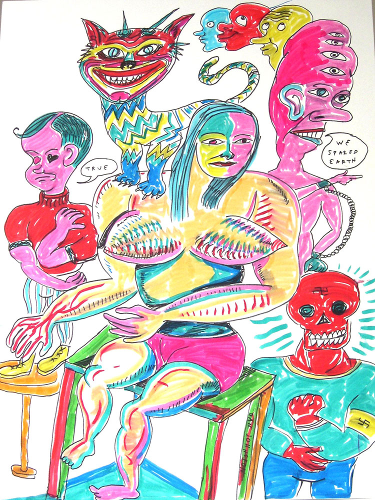 Daniel Johnston, We Spared Earth, 2008, Pen And Markers On Paper, 51x38 Cm
