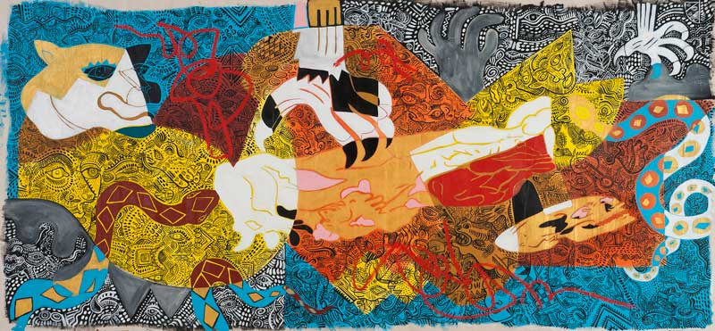 Zio Ziegler, All within Reason, 2010, mixed media on canvas, 137×295 cm