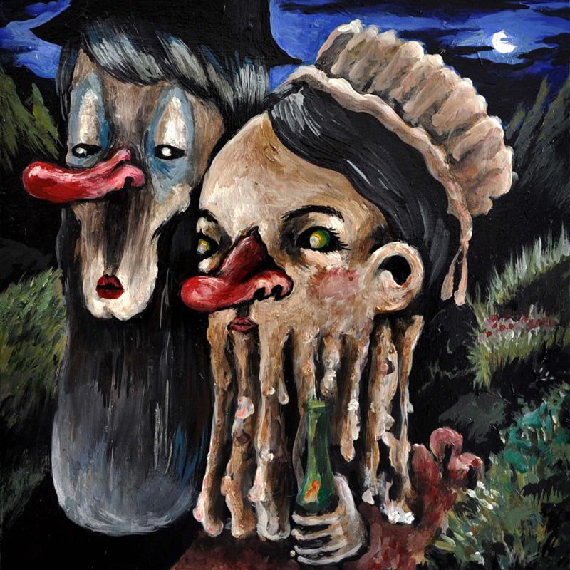 Elena Rapa, Lombricony's Family, 2010, Mixed Media On Canvas, 30x30 Cm
