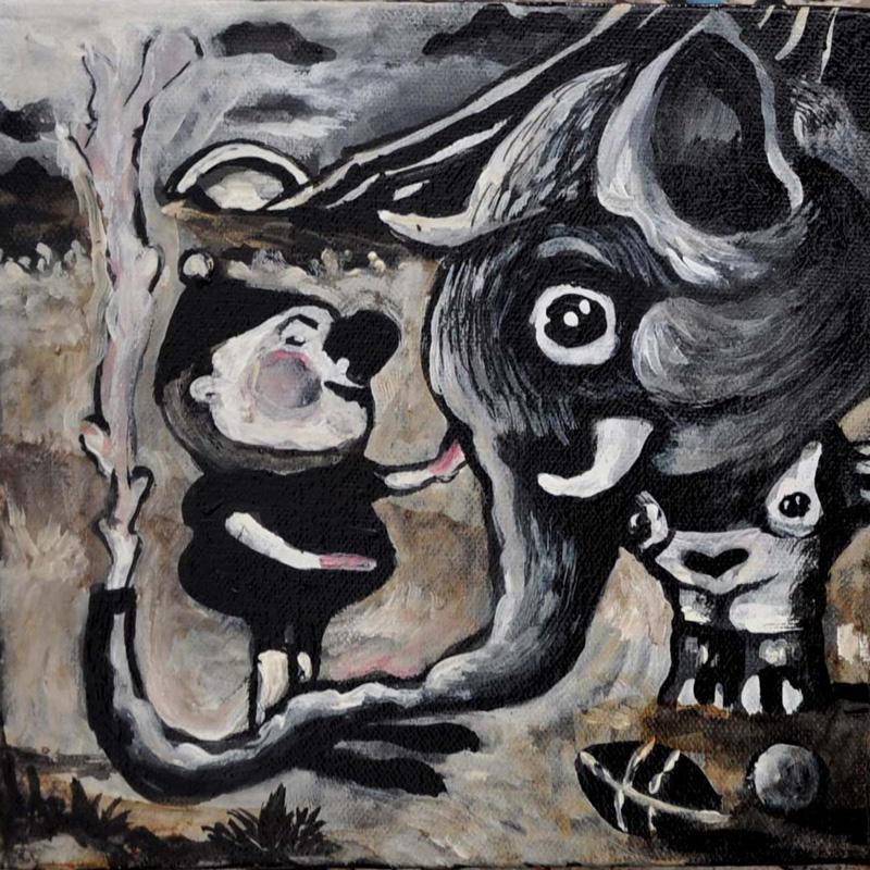 Elena Rapa, Tino E Gino L'elefantino, 2010, Mixed Media On Canvas, 20x20 Cm