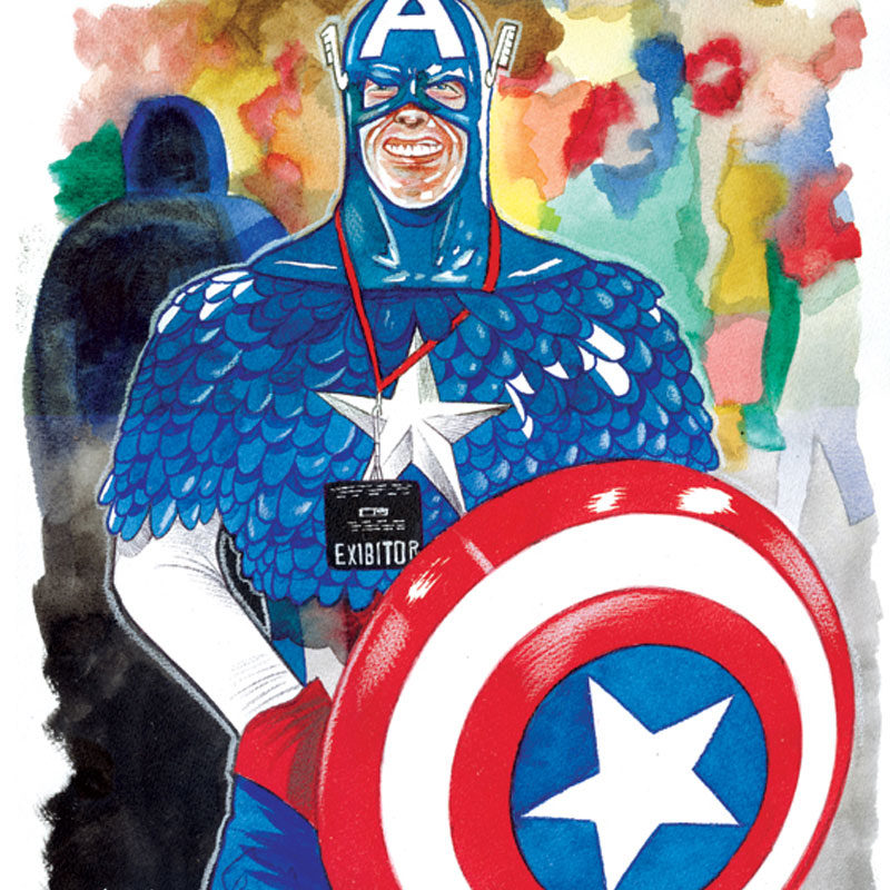 Massimo Giacon, Capitan America, 2012, Ink And Ecoline On Paper, 40×30 Cm