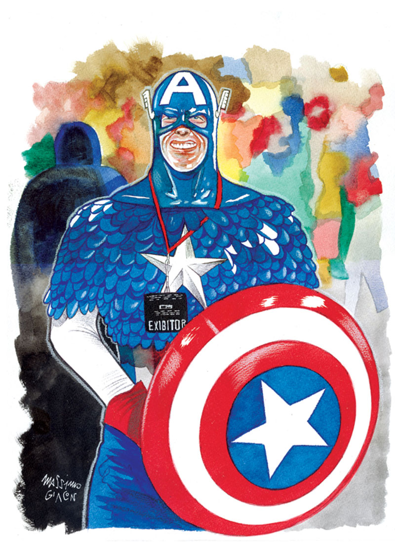 Massimo Giacon, Capitan America, 2012, Ink And Ecoline On Paper, 40x30 Cm
