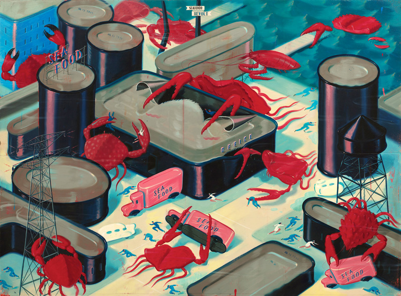 Ryan Heshka, Seafood Revolt, 2012, Acrylic And Mixed Media On Board, 66×90 Cm