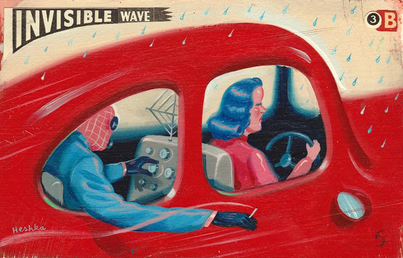 Ryan Heshka, Invisible Wave, 2012, Acrylic And Mixed Media On Board, 9x14 Cm