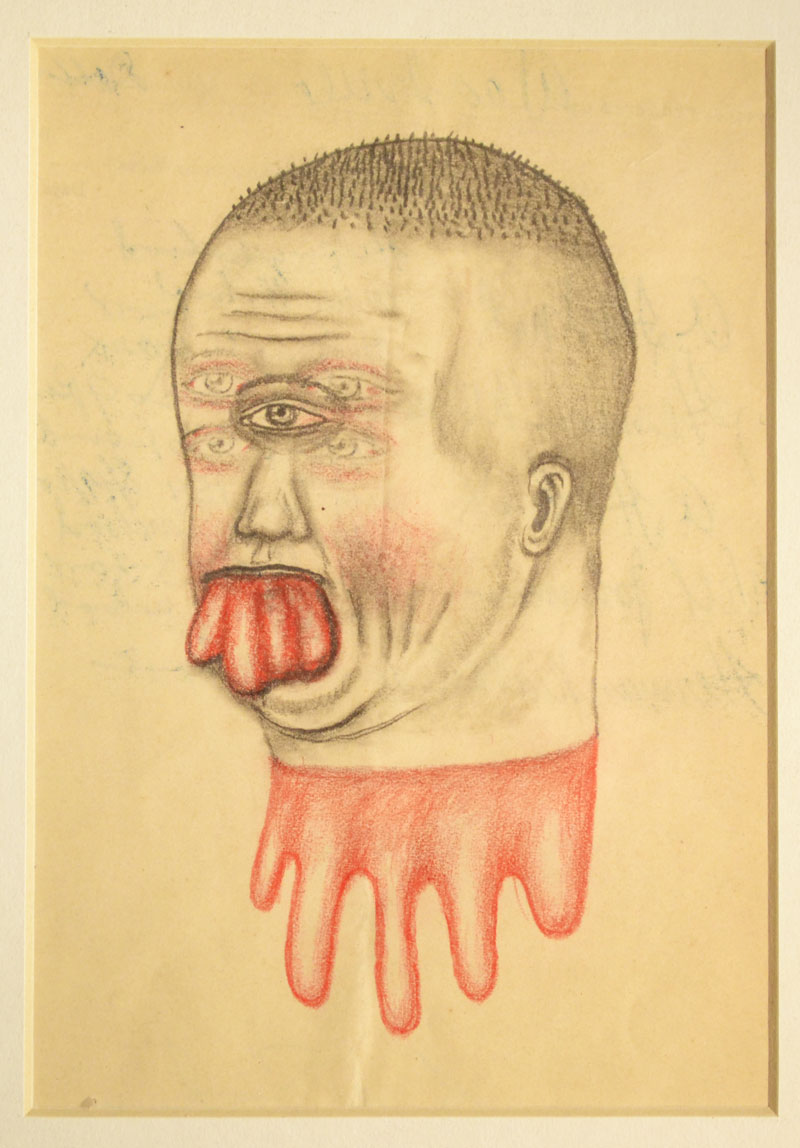 Fred Stonehouse, Blob, 2014, graphite and colored pencil on antique paper, 38x30,5 cm