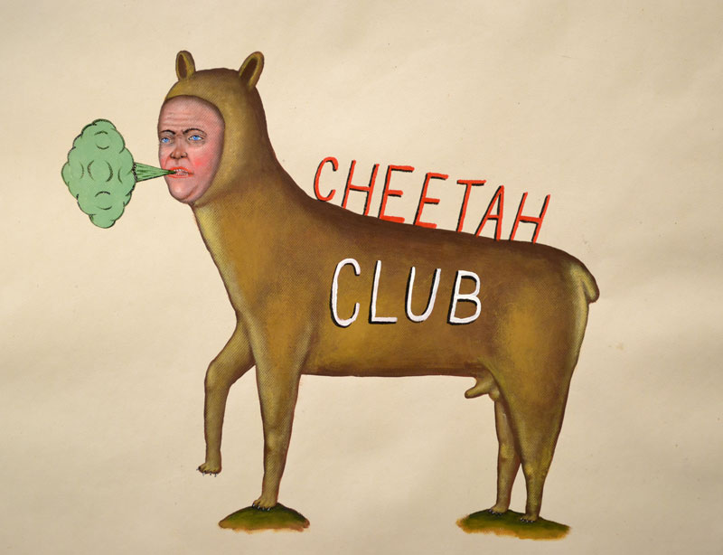 Fred Stonehouse, Cheetah-Club, 2014, acrylic on paper, 63,5x71 cm