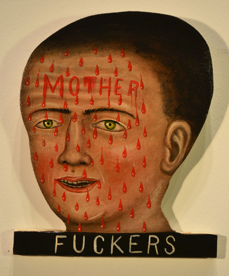 Fred Stonehouse, Mother Fuckers, 2014, acrylic on plywood, 25,4x23 cm