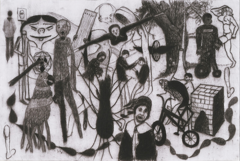 Giuliano Guatta, Orde di segnatori, 2010, pencil on paper, 50x76 cm