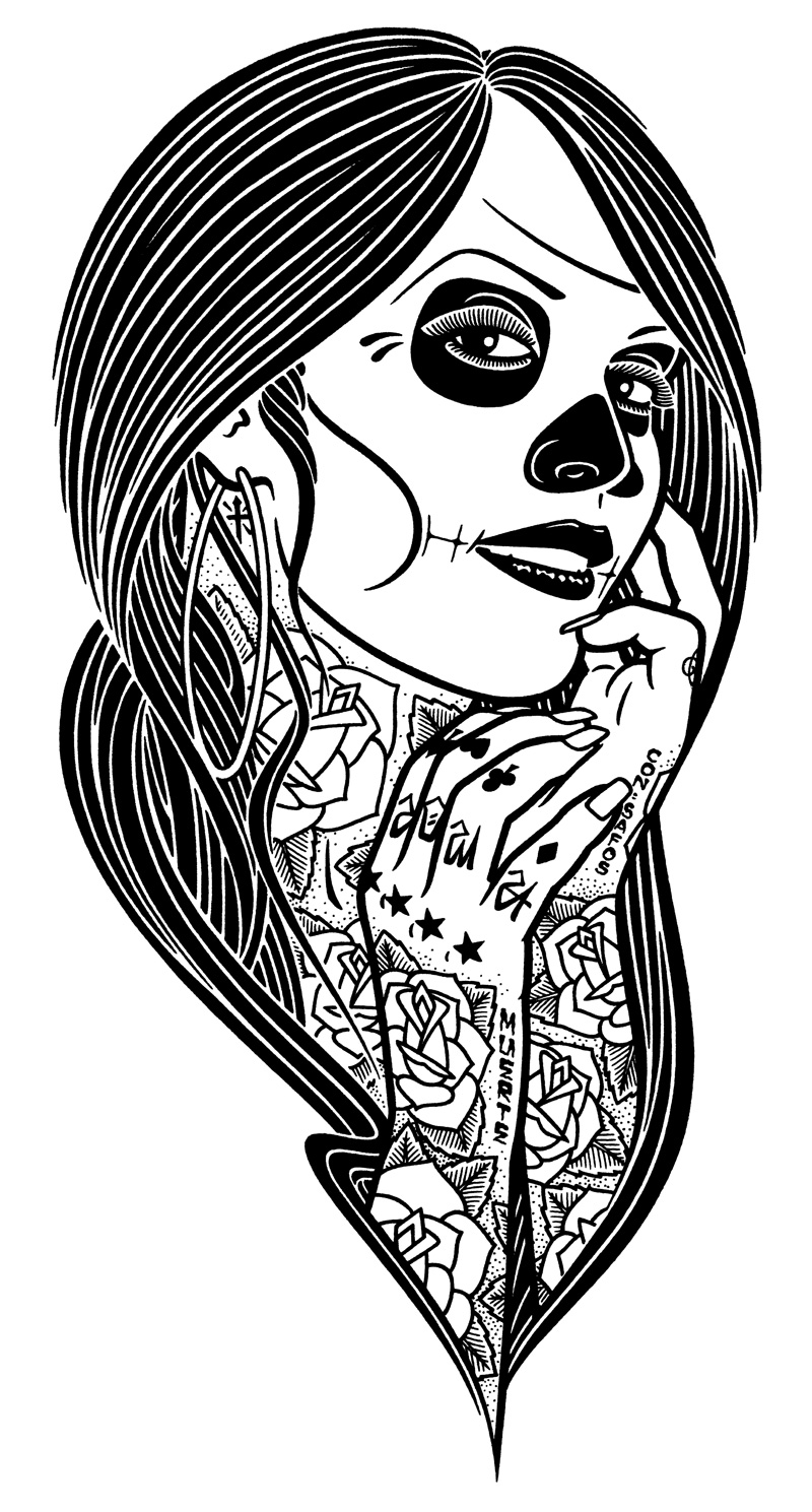Mike Giant, Deadlady, 2010, Ink On Paper, 61x46 Cm