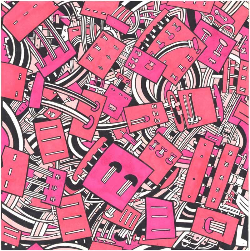 Massimo Giacon, Disegno per tessuto Memphis, 1990
