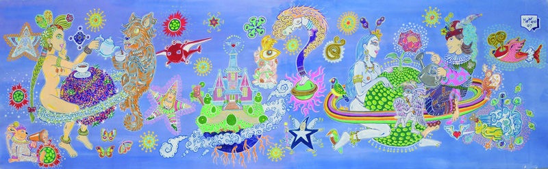 Matteo Guarnaccia, Planets Gardening, 2007, acrylic on canvas, 61x207cm