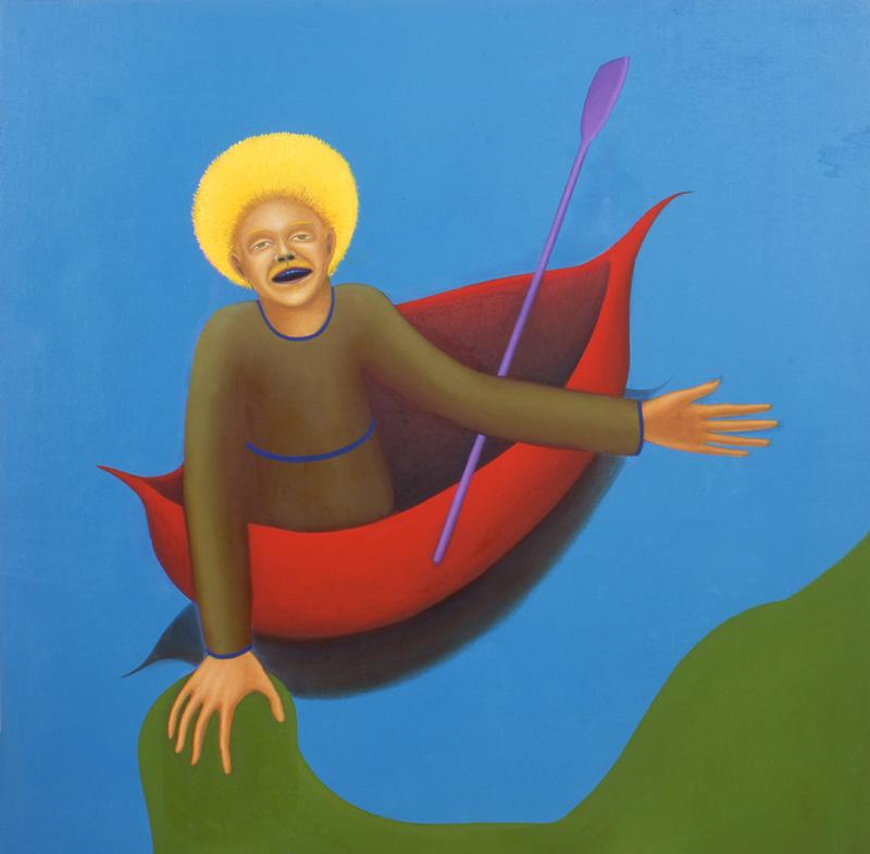 Giuliano Guatta, Il Barcaiolo, 2002, oil on board, 100x100 cm