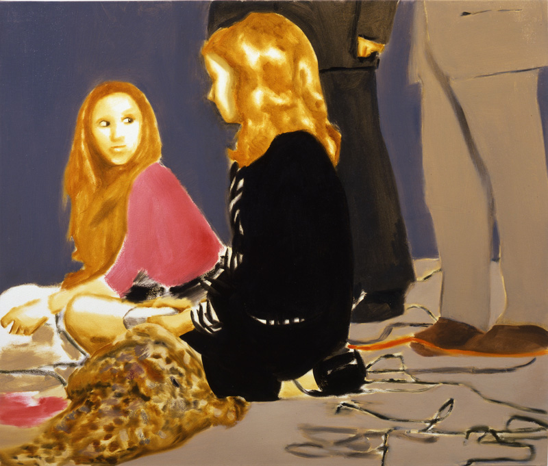 Miltos Manetas, Canguro girls and man-con-pelliccia, 2001, oil on canvas, 102x120 cm