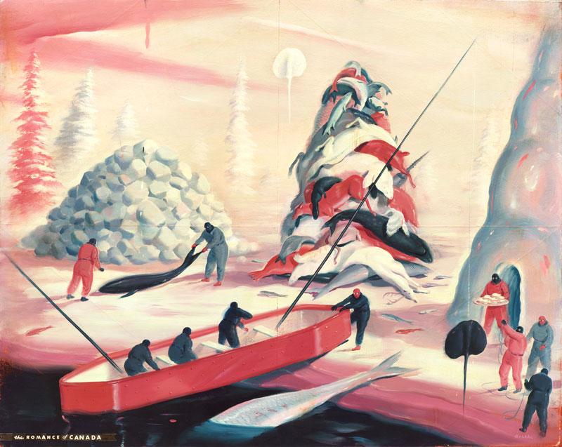 Ryan Heshka, Romance of Canada, 2015, acrylic and mixed media on wood, 40x50 cm