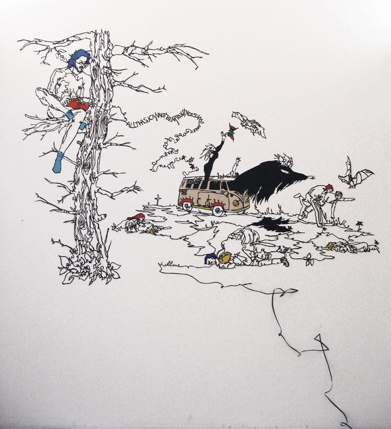 Andrea mastrovito, All this I cannot bear to witness any longer, 2004, cartoncino su parete