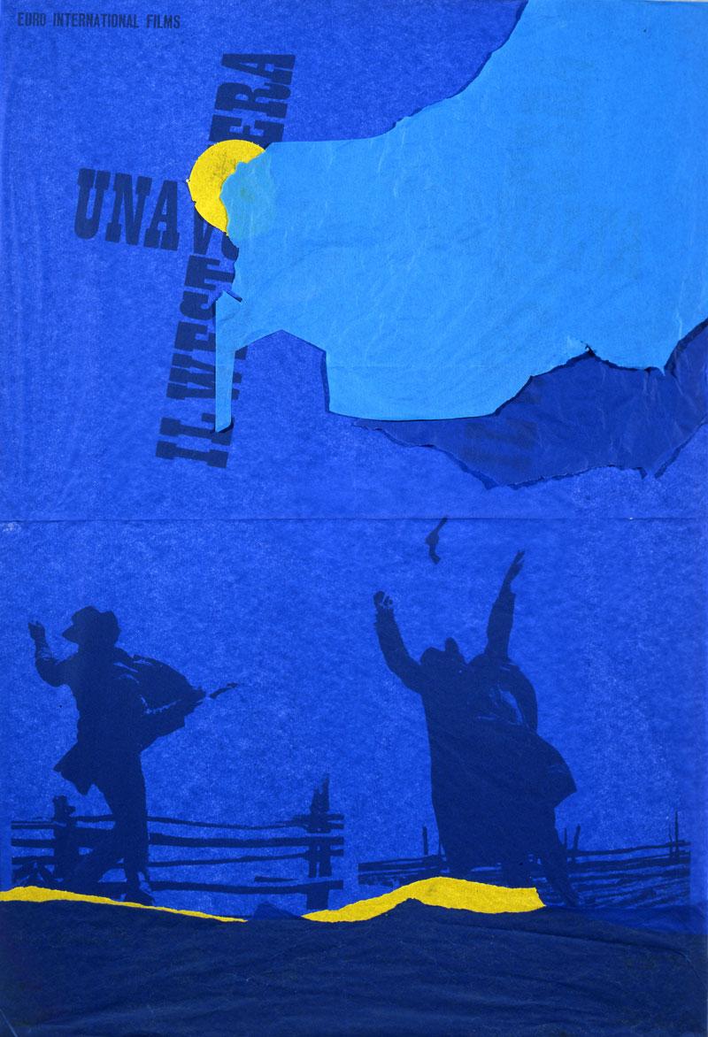 Andrea Mastrovito, C'era una volta il west, 2008, spilli e carta velina su poster su polistirene, 100x70 cm