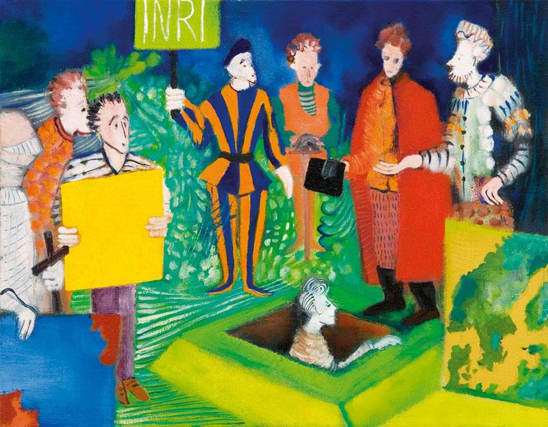 Marco Cingolani, Finalmente a casa (nascosti o obbedienti), 2007, oil on canvas, 35x45 cm
