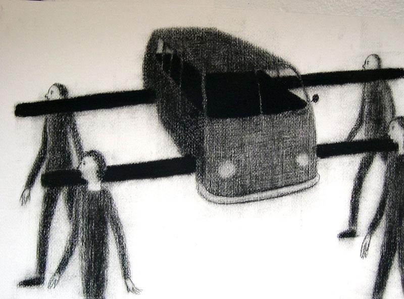 Giuliano Guatta, Processione, 2004, charcoal on paper, 35x50 cm