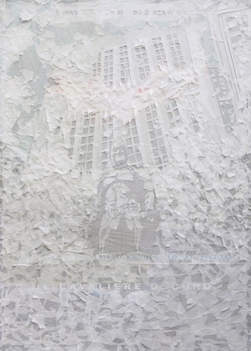 Andrea Matrovito, Il cavaliere oscuro, 2008, spilli e carta velina su poster su polistirene, 199x142 cm