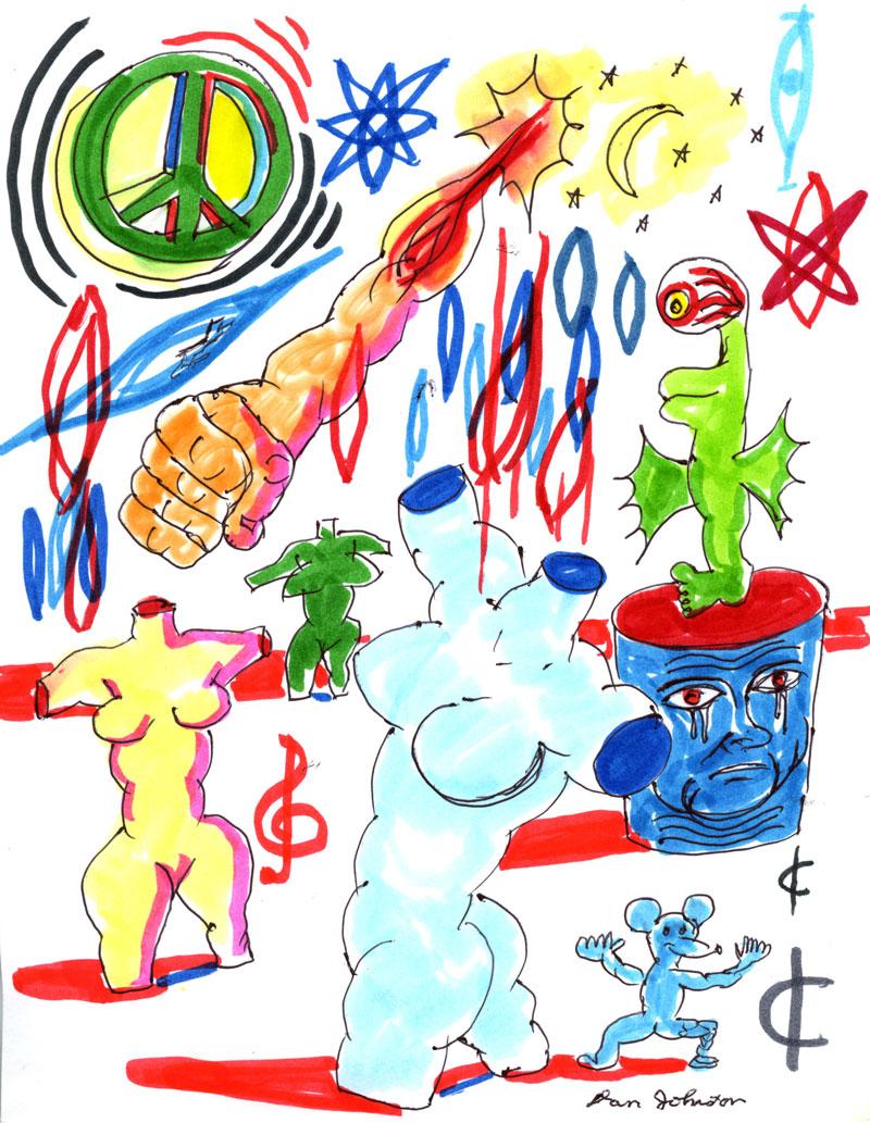 Daniel Johnston, Devine Intervention, 2003, pen and marker on paper, 28x21,5 cm
