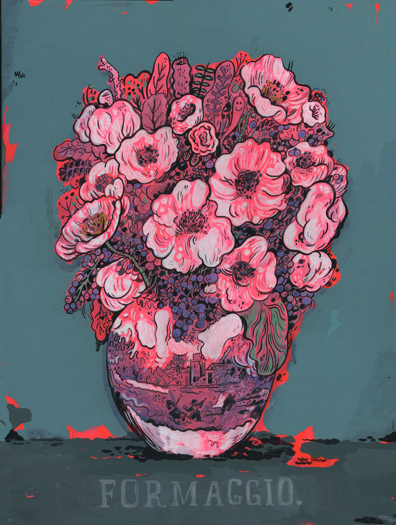 Mark Todd, Formaggio Flowers, 2015, cel-vinyl and acrylic on panel, 61x46 cm