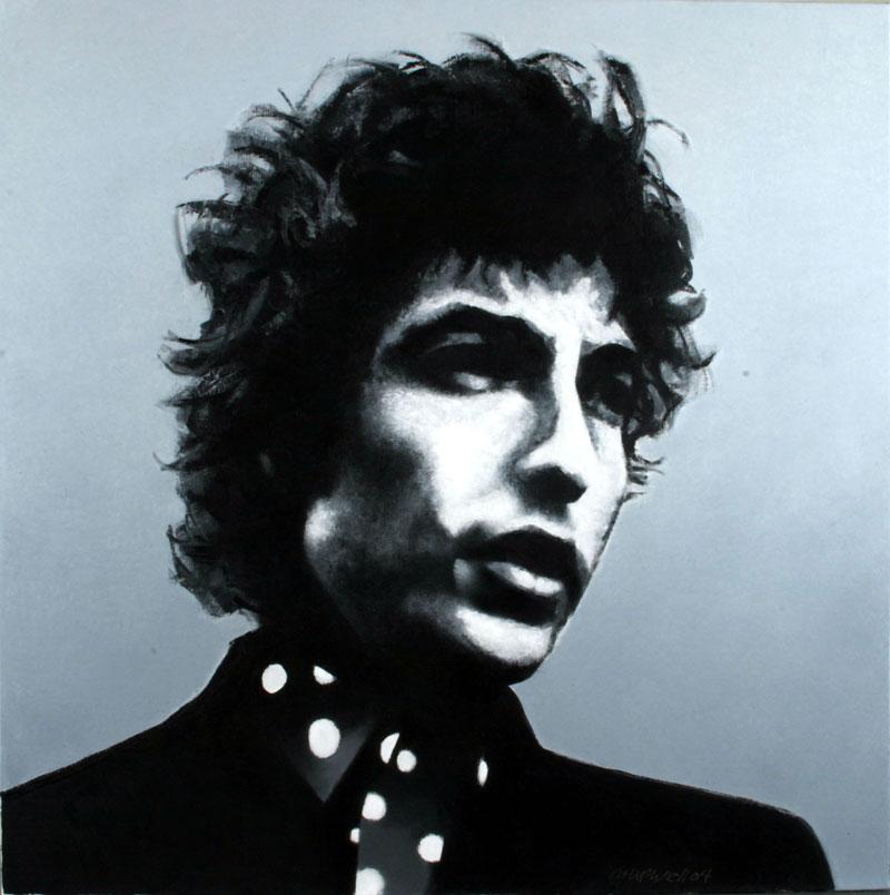 Philip Hipwell, Bob Dylan, 2004, olio su tela, cm 80x80