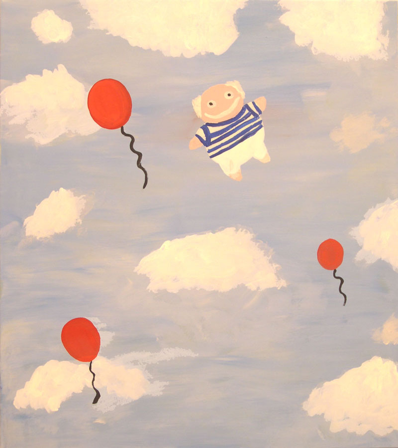 Laboratorio Saccardi, Picasso in the sky, 2005, acrylic on fabric, 80x90 cm
