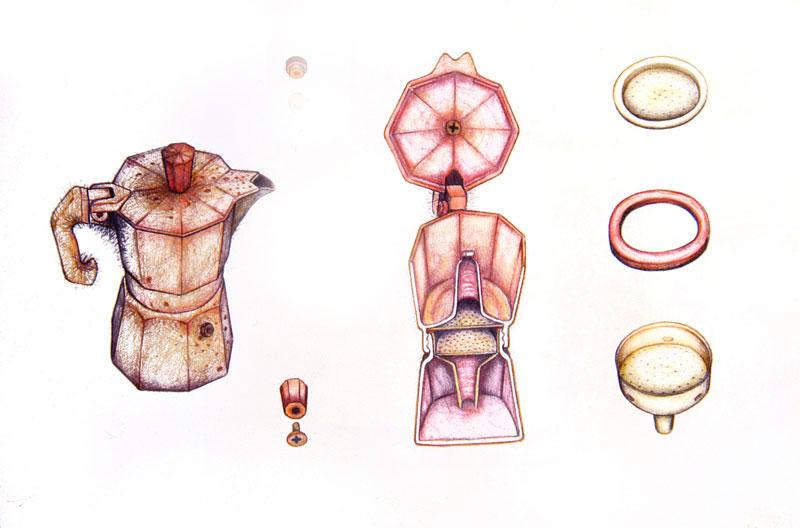 Simone Racheli, Anatomica Colf Caffettiera, 2004, Matita Su Carta, 35×45 Cm