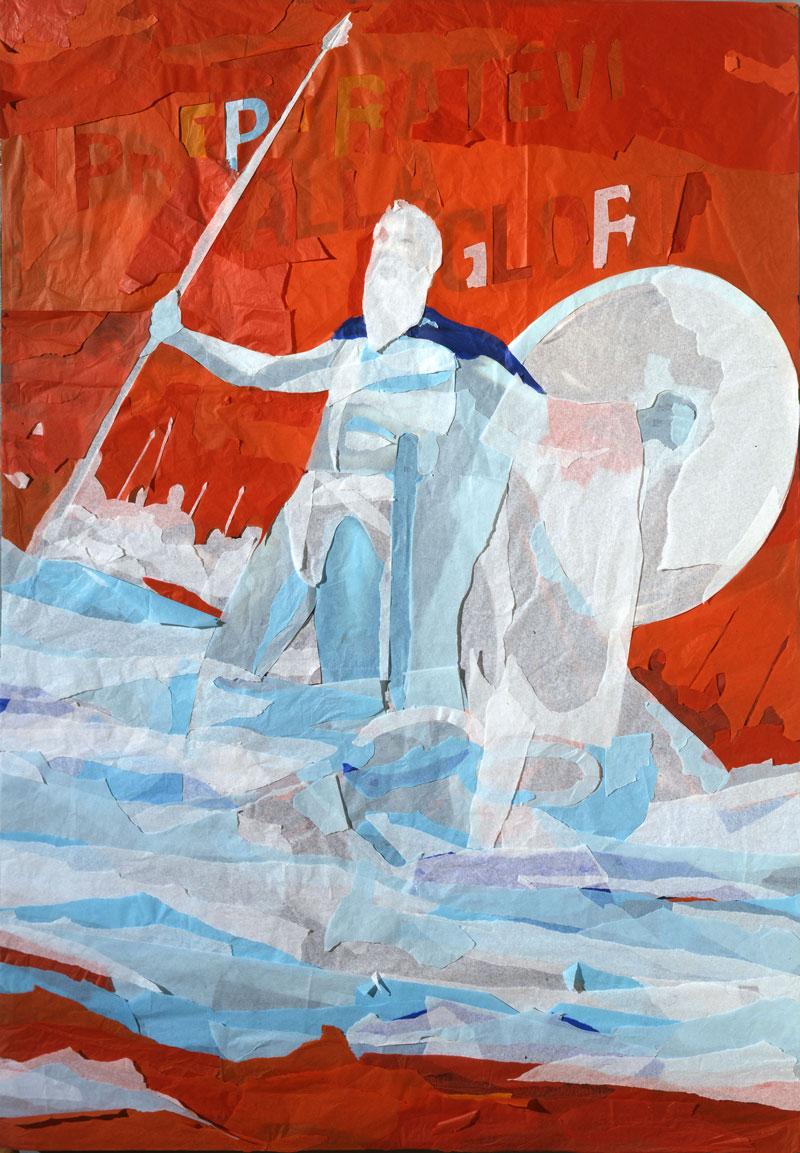 Andrea Mastrovito. Trecento, 2008, spilli e carta velina su poster su polistirene, 140x100 cm