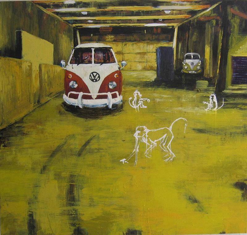 William Marc Zanghi,Hiding-place, 2004,smalti industriali su tela,cm 115x120