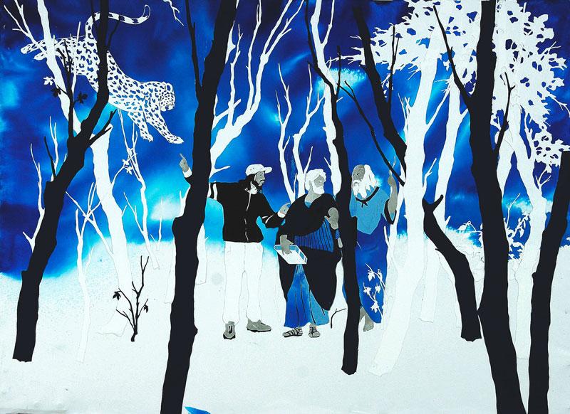 Andrea Mastrovito, la scuola di atena (dialogo sulla contingenza), 2006, collage on paper, 70x100 cm