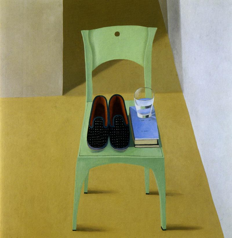 Nathalie Du Pasquier, Pantofole sulla sedia, 2002, oil on canvas, 150x150 cm