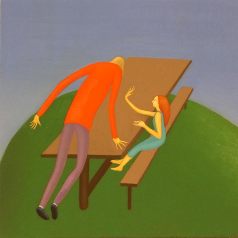 Giuliano Guatta, Enigma celtico, 2003, oil on board, 40x40 cm