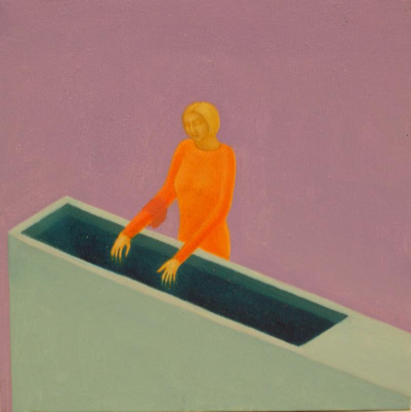 Giuliano Guatta, La sua assistente, 2003, oil on board, cm 20x20