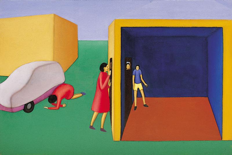 Guatta—Nascondino, 2001, Olio Su Tavola, Cm 40×60