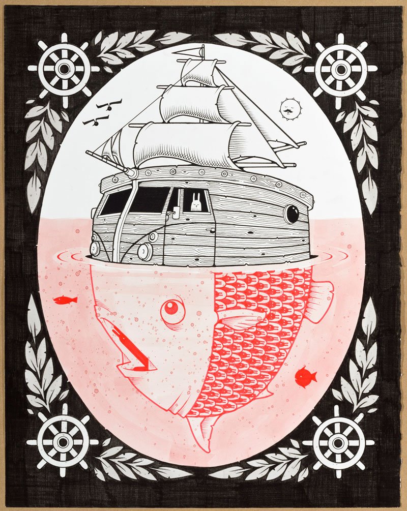 Jeremy Fish, DISABLED FREEDOM, 2015, ink on paper, hand carved wood frame, 40,6x50,8 cm