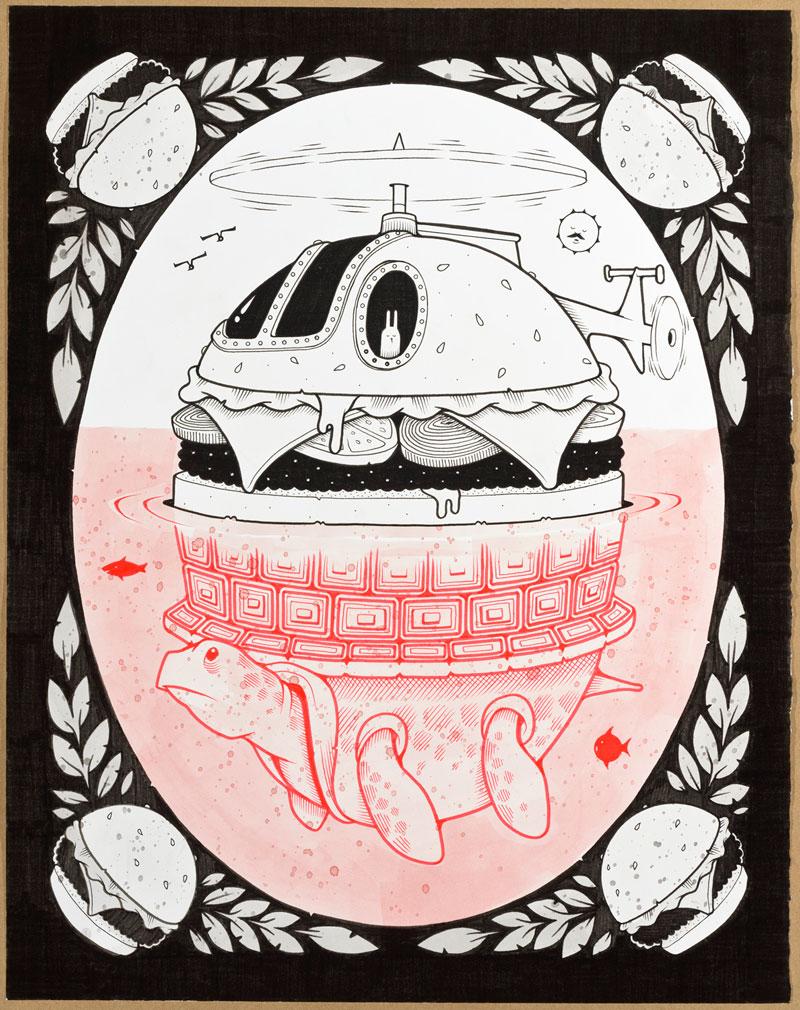 Jeremy Fish, EMERGENCY LANDING, 2015, ink on paper, hand carved wood frame, 40,6x50,8 cm