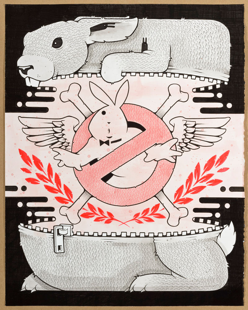 Jeremy Fish, GROSSBUSTERS BUNNY, 2015, ink on paper, hand carved wood frame, 40,6x50,8 cm