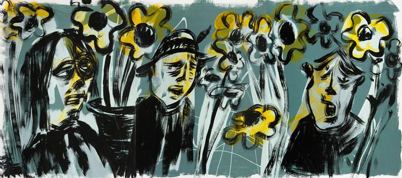 Russ Pope, Laguna, 2015, Acrylic On Canvas Tryptich, 61×138 Cm