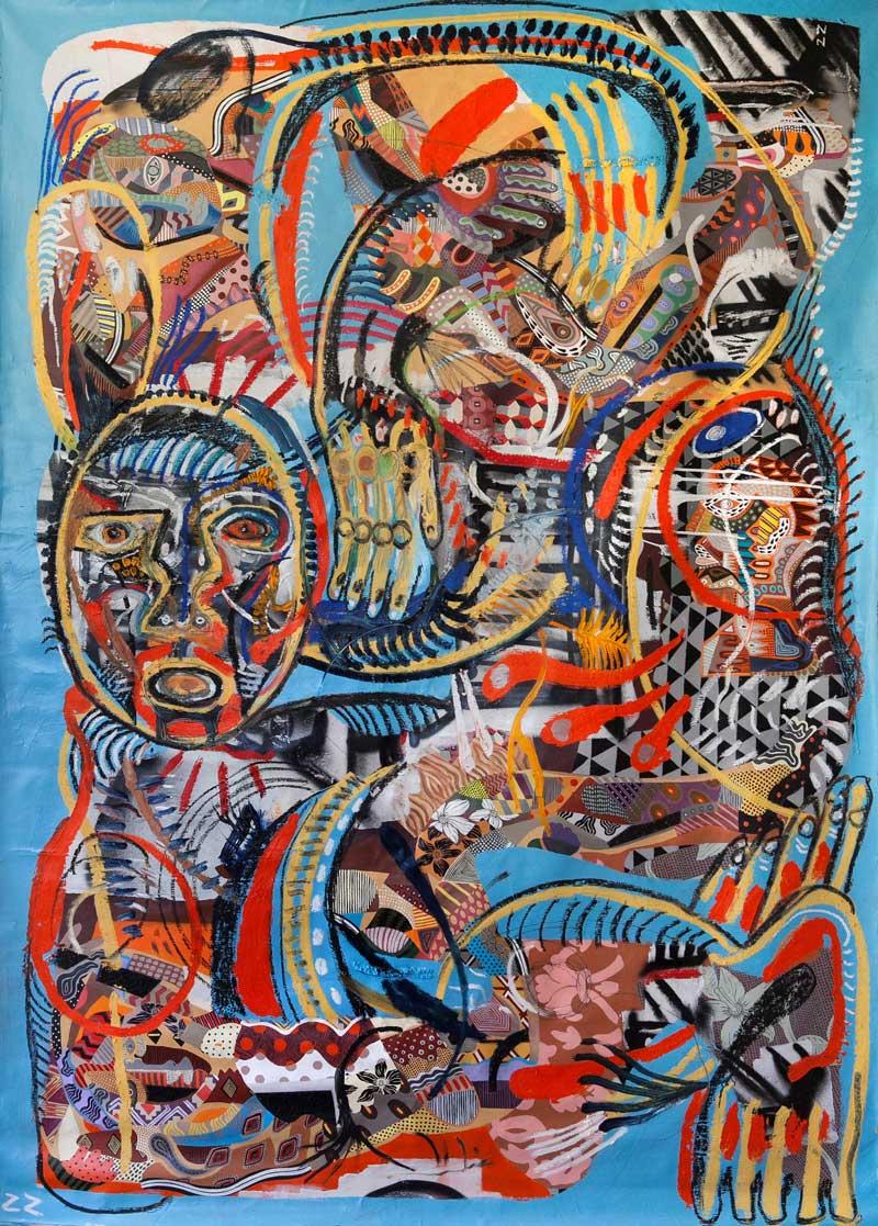 Zio Ziegler, Monument II, 2015, acrylic, mixed media on canvas, 213x152 cm