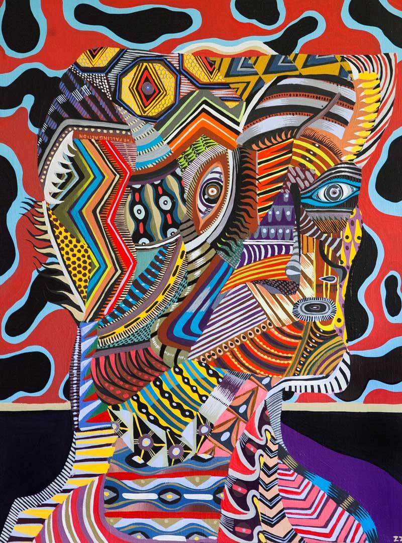 Zio Ziegler, The Aggregation God II, 2015, mixed media on canvas, 60x45 cm
