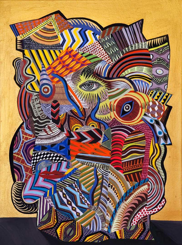 Zio Ziegler, The Aggregation God III, 2015, mixed media on canvas, 60x45 cm