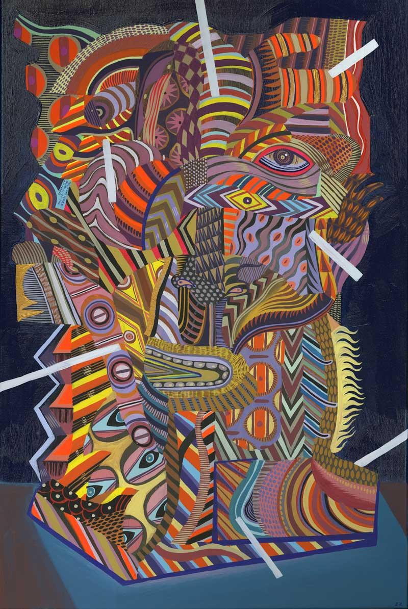 Zio Ziegler, The Aggregation God IV, 2015, gouache, acrylic, mixed media on canvas, 91,4x61 cm