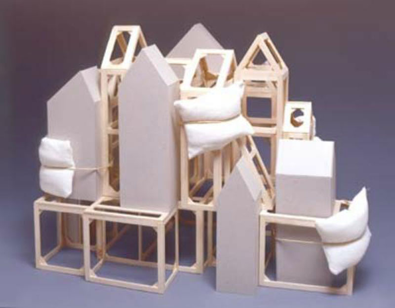 Pierluigi Calignano, N°10, 2001, Wood, Cardboard, Pillows, 33x42x25 Cm