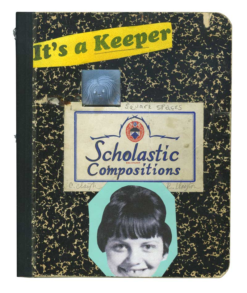 Clayton Brothers, It's A Keeper, (Front And Back Cover, Plus 4 Spreads, 10 Pages Total), Mixed Media On Found Book On Wood Panel, 25x25 Cm (2)