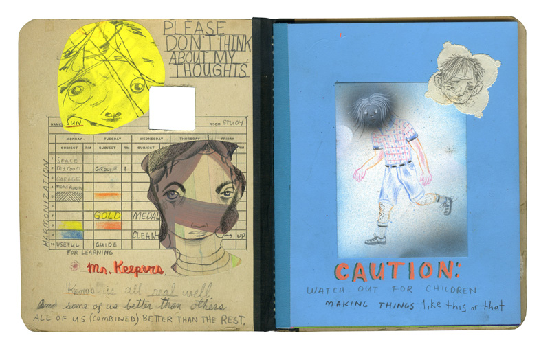 Clayton Brothers, It's A Keeper, (spread 2 3), Mixed Media On Found Book On Wood Panel, 25×25 Cm