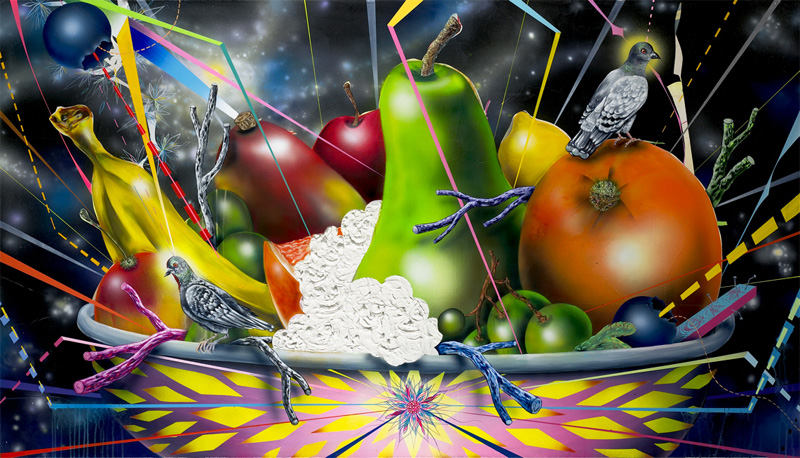 Clayton Brothers, Still Life With Protective Pigeons, 2015, Mixed Media On Stretched Canvas, 122×213 Cm