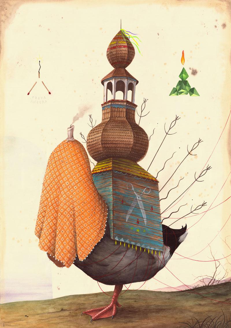 El Gato Chimney, Chi cerca trova, 2015, mix media on cotton paper, 100x70 cm