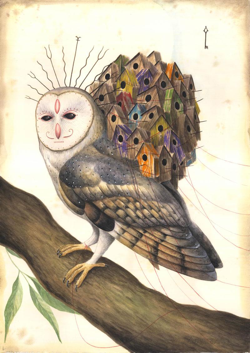 El Gato Chimney, Lunghi silenzi, 2015, mix media on cotton paper, 71x50 cm