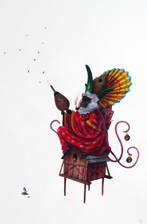 El Gato Chimney, Passatempi, 2013, Acrylic On Cotton Paper, 50x35 Cm